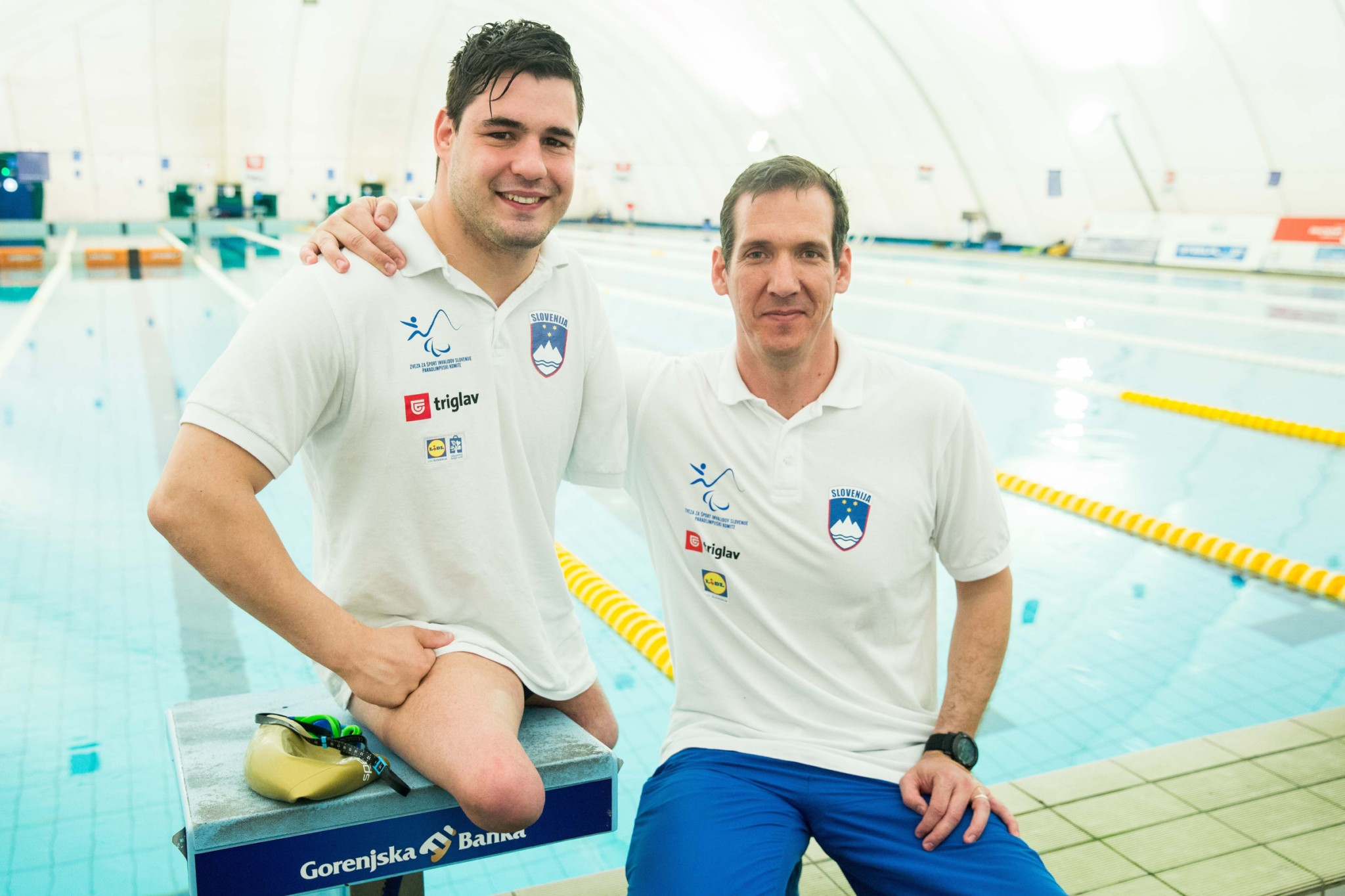 Darko ?uri?, Slovenian paralympic swimmer with his coach Alen Kramar during Media day of the National Paralympic Committee (NPC) of Slovenia, on April 26, 2016 in Olympic pool Radovljica, Slovenia. Photo by Vid Ponikvar / Sportida