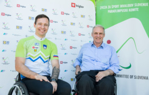 Primoz Jeralic and Joze Okoren at Media day of the National Paralympic Committee (NPC) of Slovenia and Primoz Jeralic, Slovenian paralympic rider, on May 26, 2016 in Novo mesto, Slovenia. Photo by Vid Ponikvar / Sportida