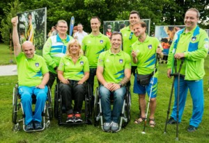 Athletes (L-R): Franci Pinter Anco, Damjan Pavlin, Veselka Pevec, Dejan Fabcic, Primoz Jeralic, Darko Duric, Sandi Novak and Francek Nani Tirsek at Opening of photo exhibition of Slovenian Paralympic Athletes before Rio 2016, on July 14, 2016 in Arboretum Volcji potok, Slovenia. Photo by Vid Ponikvar / Sportida