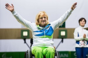 Winner Veselka Pevec of Slovenia celebrates at medal ceremony after the Final of R4 - Mixed 10m Air Rifle Standing SH2 on day 3 during the Rio 2016 Summer Paralympics Games on September 10, 2016 in Olympic Shooting Centre, Rio de Janeiro, Brazil. Photo by Vid Ponikvar / Sportida