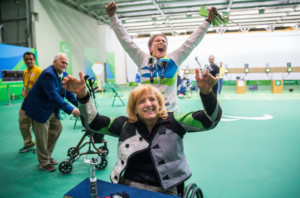 Winner Veselka Pevec of Slovenia and coach Polona Sladic celebrate after the Final of R4 - Mixed 10m Air Rifle Standing SH2 on day 3 during the Rio 2016 Summer Paralympics Games on September 10, 2016 in Olympic Shooting Centre, Rio de Janeiro, Brazil. Photo by Vid Ponikvar / Sportida