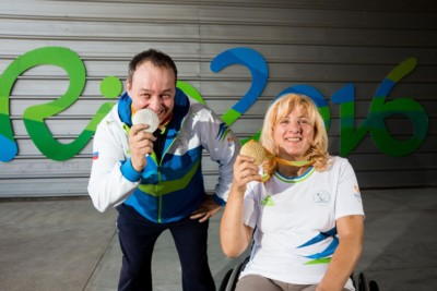Francek Gorazd Tirsek - Nani of Slovenia and Veselka Pevec of Slovenia posing with a silver and gold medals Two days after the Final of R4 - Mixed 10m Air Rifle Standing SH2  on day 5 during the Rio 2016 Summer Paralympics Games on September 12, 2016 in Olympic Shooting Centre, Rio de Janeiro, Brazil. Photo by Vid Ponikvar / Sportida